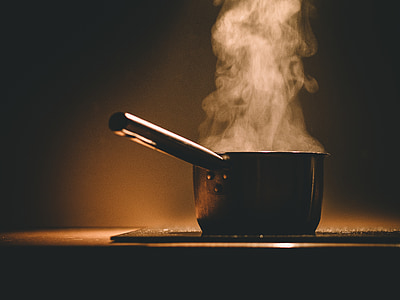 black pan on desk