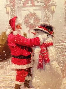 snowman and santa claus poster
