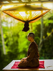 Selective Focus Photography Of Person In Black Shirt 3456x4608 Monk Wearing Brown Robe Meditating During Day Time
