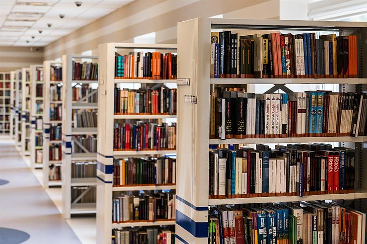 assorted book lot on white wooden bookshelves