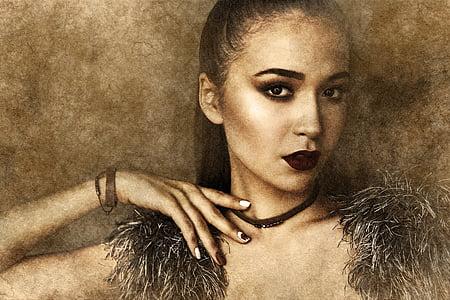 woman in black fur scarf