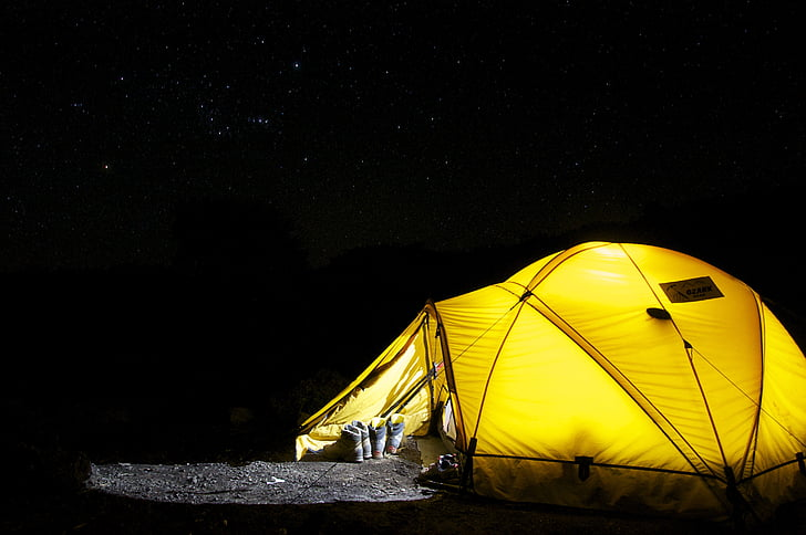 yellow dome tent during night