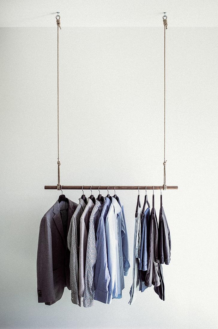hanging dress shirt and pants
