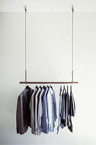 hanging dress shirt and pants