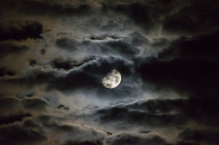 full moon with black and white clouds
