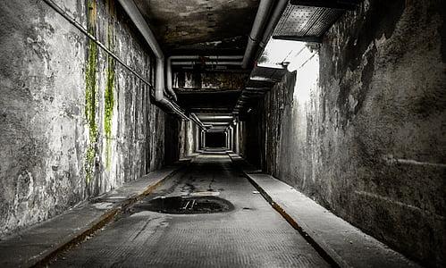 white fluorescent light on tunnel