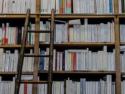 assorted-title books on bookshelf near ladder