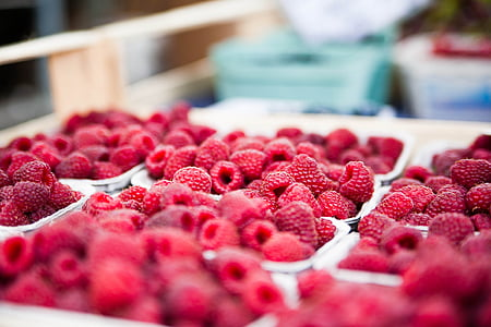 plates of raspberries