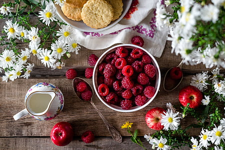 raspberries on white ceramic bowl