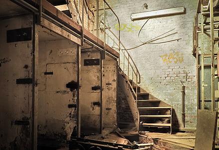 gray wooden stairway
