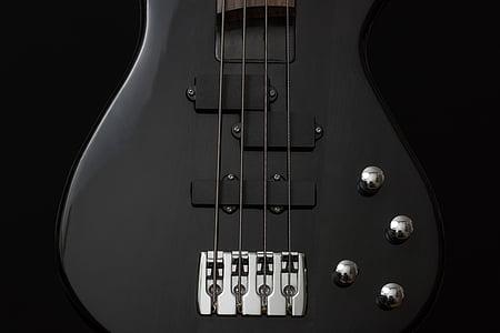 black 4-string bass guitar