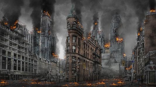 burning buildings during daytime