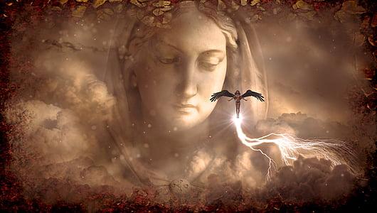 lightning female angels graphic wallpaper