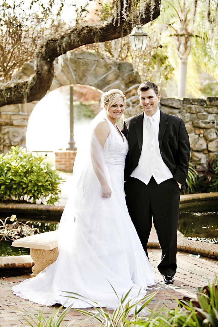 Royalty Free Photo Woman Wearing White Wedding Dress And Man Wearing Wedding Outfit Smiling Pickpik