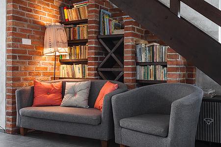 2-piece gray cordoroy tub sofa set under brown wooden stairway