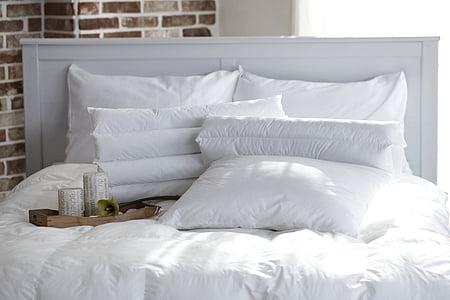 rectangular white pillows