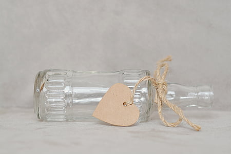 clear glass decorative bottle