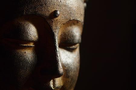 close-up photography of Buddha head