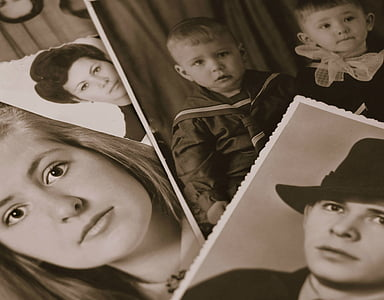 grayscale photo of a toddler, boy, and woman