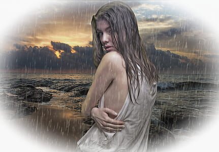 woman wearing white tank top near body of water