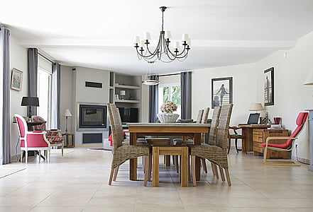 photography of brown wooden dining table with chairs