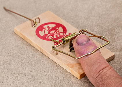 person hands on brown wooden mouse trap