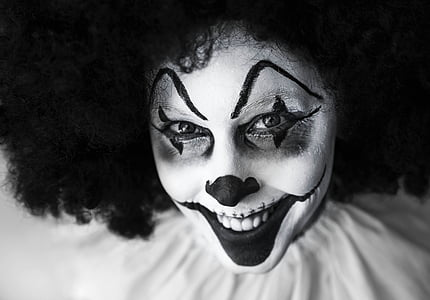 grayscale clown photo