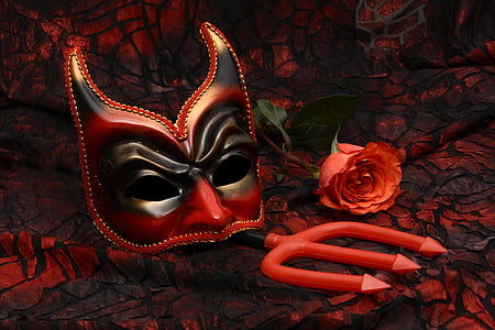 red and black devil masquerade mask