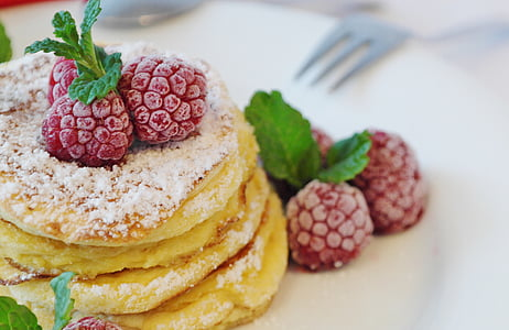 pancake with raspberry on top