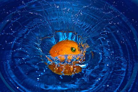 orange fruit drop on body of water