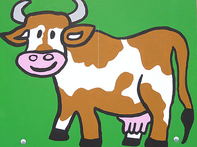 brown and white cow illustration