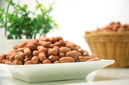 brown almond nuts on white ceramic plate