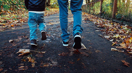 two people waling on road with dried leaves
