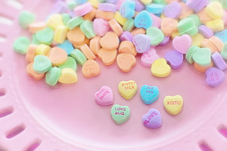 heart-shaped assorted-color candies