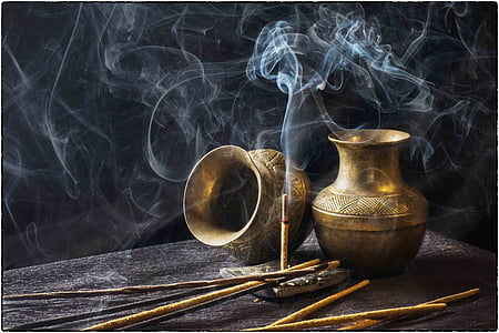 timelapse photography of brown incense