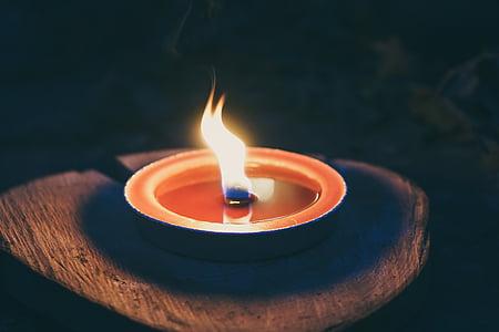 close up photography of tea light candle
