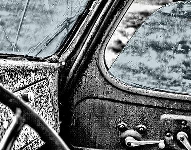 grayscale photography of car side door