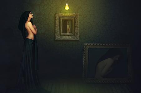 three woman paintings