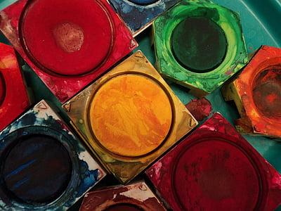 closeup photo of assorted-color paints