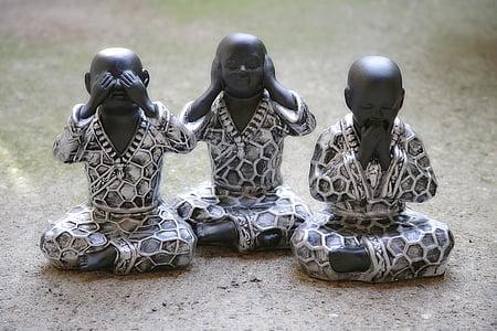 three wise monks figurine
