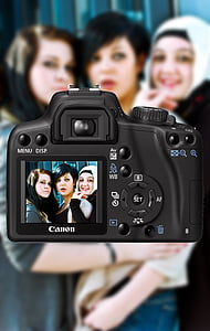 women's taking pictures using black Canon DSLR camera