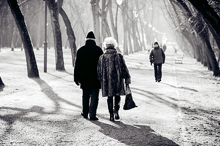 grayscale photo of people walking on pathway between trees