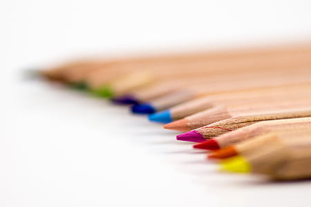 selective focus photography of coloring pencils