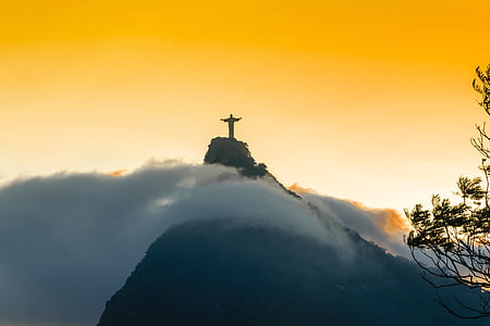 Chris the Redeemer mountain during the sunset