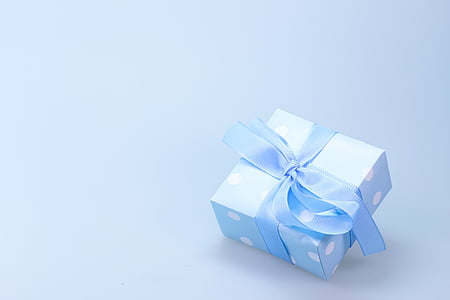 teal and white gift box