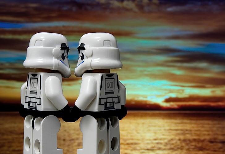 two Star Wars Storm Trooper plastic toys