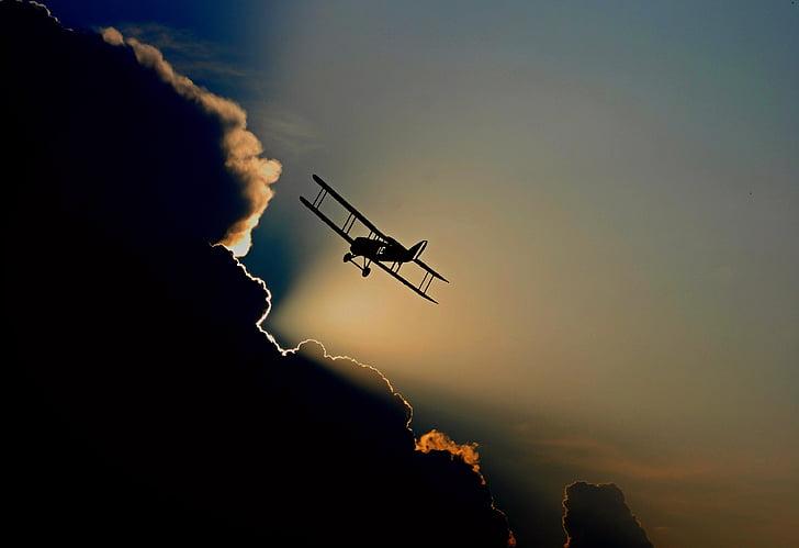 Royalty-Free photo: Silhouette of biplane | PickPik