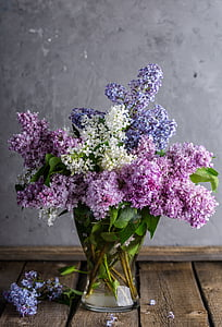 pink and purple petaled flowers with clear glass vase