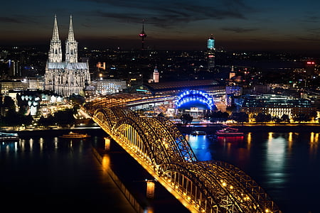 birds eye view of bridge and city during night time