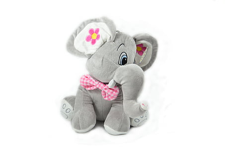 gray and pink elephant plush toy